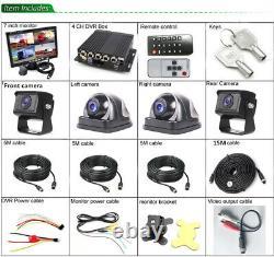 4CH Car Truck DVR Video Recorder+7 HD Monitor+4 Matte Night Cameras Kit
