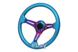 Blue Turquoise Neo Chrome TS Aftermarket steering wheel 6x70mm pcd 350mm