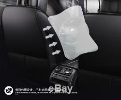 Full Seat PU Leather Car Seat Cover Cushion Pad With Headrests & Waist Pillows
