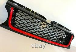 Gloss Black Grille and Side Vents with Red Trim for Range Rover Sport 10 -13