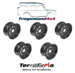 Grw012 Set Of 5 Steel Modular Wheels Black For Land Rover Discovery 2 1998-2004