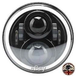 Pair 7 Led Black Halo Headlights E Marked Rhd 110 90 For Land Rover Defender