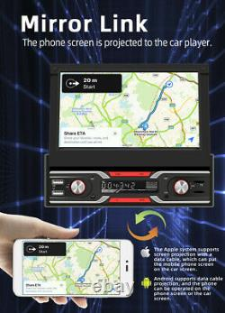 Retractable 7in Car Radio Stereo GPS SAT NAV Map Bluetooth MP5 Player 1 Din Unit