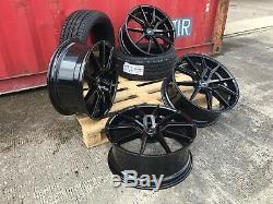 Vw T5 T6 Vivaro 850kg Load 20 Spyder Turbine Gloss Black Alloy Wheels + Tyres