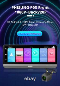 1080p Android 8.1 Dash Cam Voiture Dvr Caméra Gps Enregistreur De Navigation Adas Wifi 4g