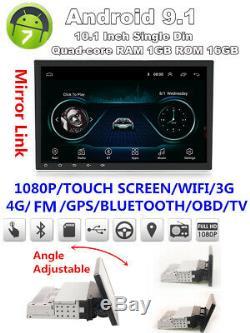 1din Réglable Android 9.1 10.1 1080p Quad-core 1 Go + 16 Go Car Stereo Gps Radio