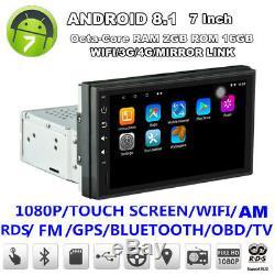 7 Simple Din Android 8.1 1080p Octa-core 2 Go + 16 Go Car Stereo Radio Wifi Gps