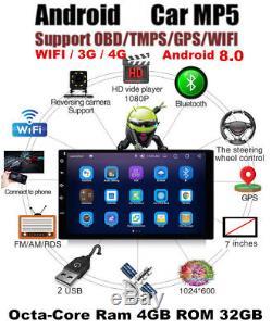 7''android 8.0 4g Wifi Double 2din Autoradio Stéréo Multimédia Gps Navi Bt Dab +