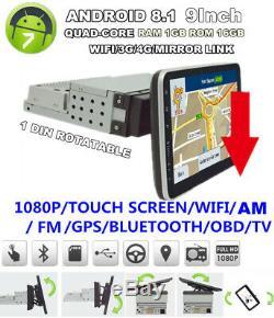 9 Car Stereo Radio 1 Din Gps Navi Fm Mp5 Écran Tactile Android 8.1 16 Go
