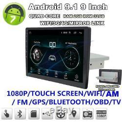 9 Single Din Android 9.1 Quad-core Gps Wifi Bt Dab Obd Aux Miroir Lien 32go + 2 Go