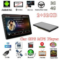 Android 9.1 4-core Double 2din 9 Voiture Stereo Radio Sat Nav Gps Mp5 Lecteur 2+32gb