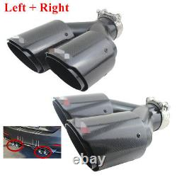Double Tube Carbon Fiber Exhaust Tip Dual Pipe Id2.5 63mm Od3.5 89mm L+rside