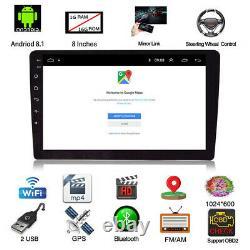 Hd 8 Android 8.1 Simple Din Dash Voiture Radio Stéréo Gps Head Unit Sat Nav Wifi Fm