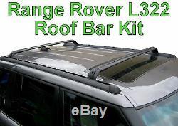 Kit De Barres De Toit Pour Range Rover L322 + Boîte De Rack À Rails Transversaux Verrouillables Vogue Hse Neuf