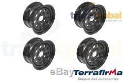 Noir Modulaire 8x16 Roues En Acier X4 Pour Land Rover Discovery 2 Terrafirma Grw012