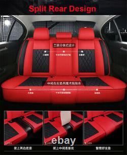 Pads Coussin De Couverture En Cuir De Luxe Noir/rouge 5 Places Pour Accessoires D'intérieur
