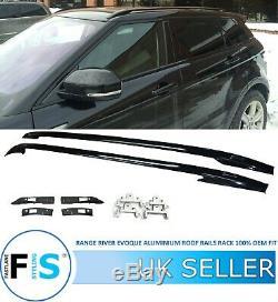 Range Rover Evoque L538 2011+ Toit En Aluminium Noir Rails Rack Bars Oem Fit