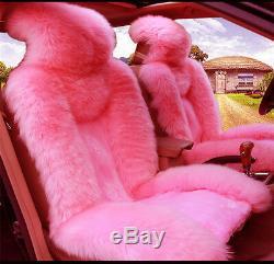 Siège D'auto Couverture En Peluche Pelage Direction De Roue Pommeau Couverture Rose Set Fluffy