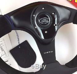 Volant Momo Nero 350mm En Cuir Véritable Et Moyeu 36 Cannelures. Pour Land Rover
